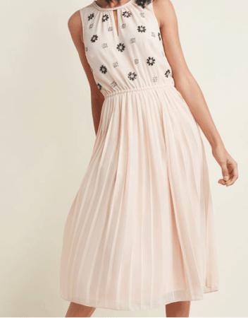 Pale pink embellished chiffon dress