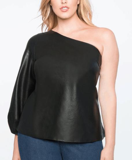 Faux black leather one shoulder top