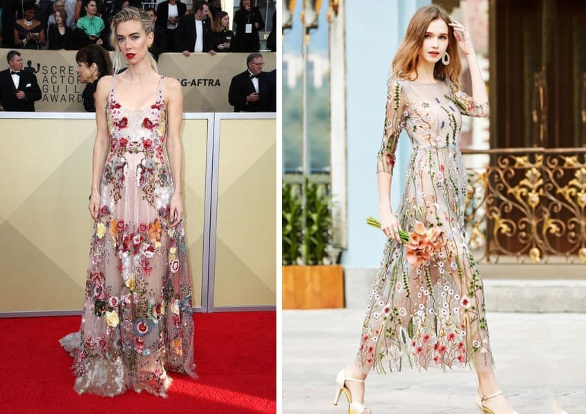 Side by side photo of Vanessa Kirby wearing Valentino and Novashe dress