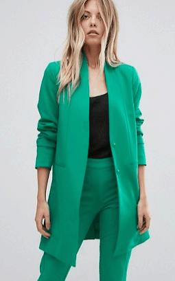 Long Green Blazer with no Collar