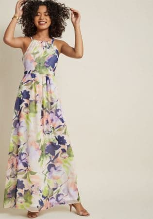Floral halter top maxi dress from Modcloth