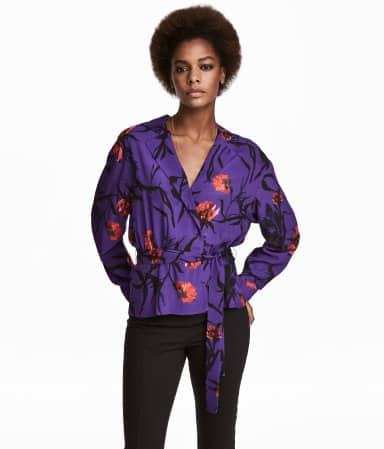 Ultra violet wrap blouse with floral pattern