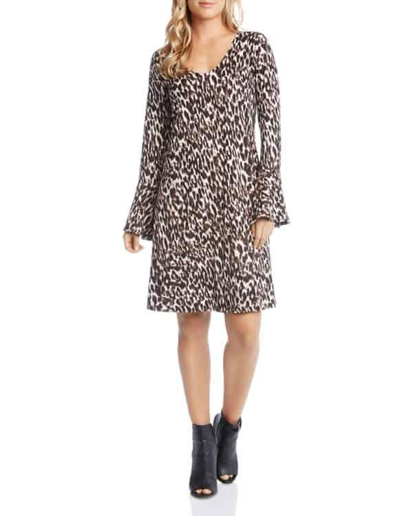 Bell Sleeve Dress in Leopard Print