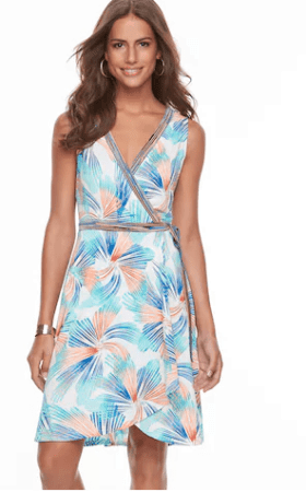 Faux wrap dress with blue and peach pattern