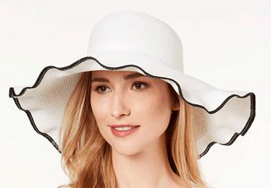 Floppy white sun hat with black trim