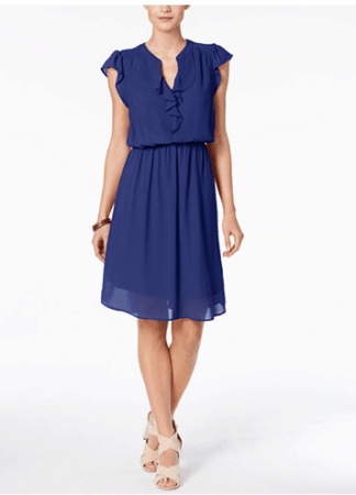 Blue fit and flare dress from Macys