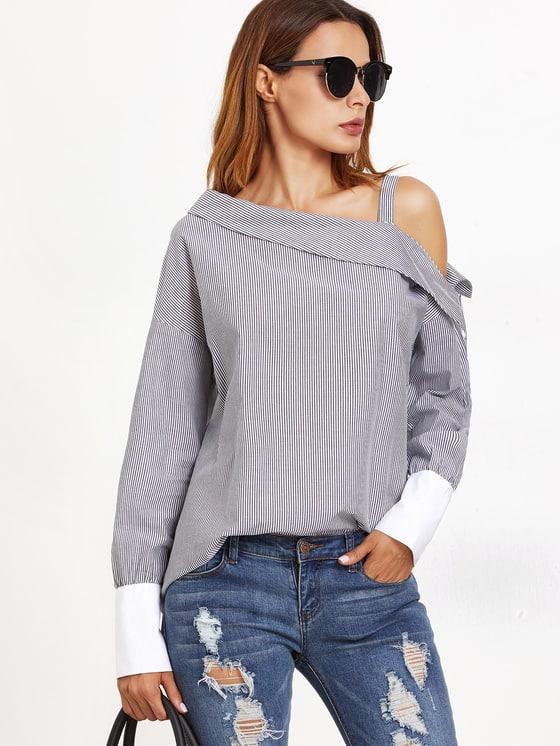 Striped asymmetric cold-shoulder blouse