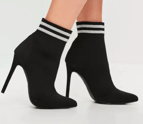 Black sock boots with stripe around ankle