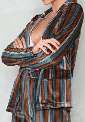 Blue, brown and beige striped blazer