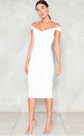 Off shoulder mIdi pencil dress in white