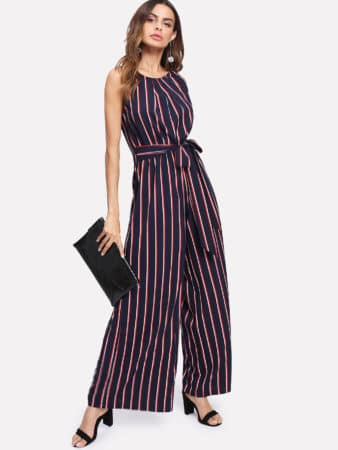 pink and navy striped jumpsuit