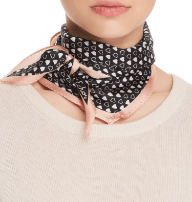 Black and white silk scarf with heart pattern and pink edge