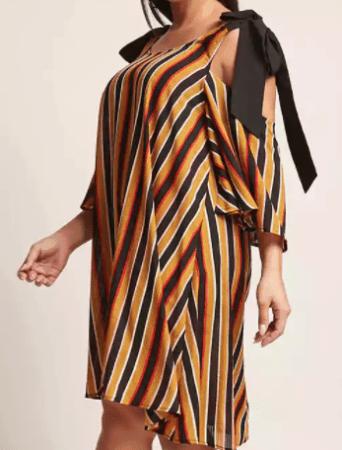 Yellow, orange, black and white striped dress
