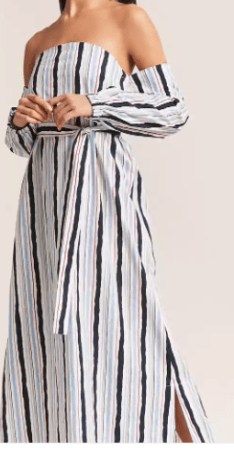 Striped off shoulder maxi dress