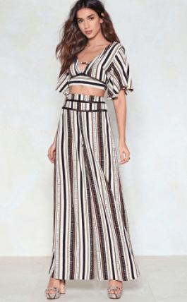 Striped wide legged pants
