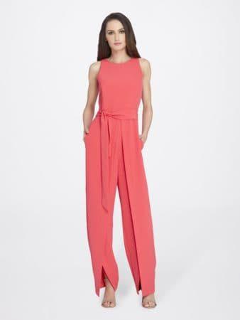 Pink split-leg, floor-length jumpsuit