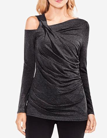 Dark heather gray ruched top with an asymmetric neckline