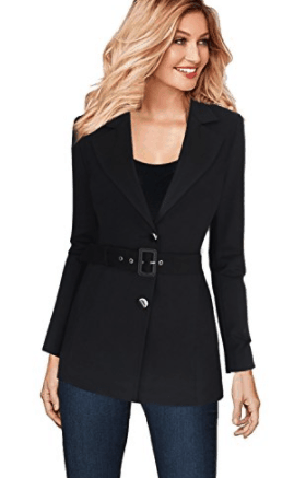 Black two button blazer with belt