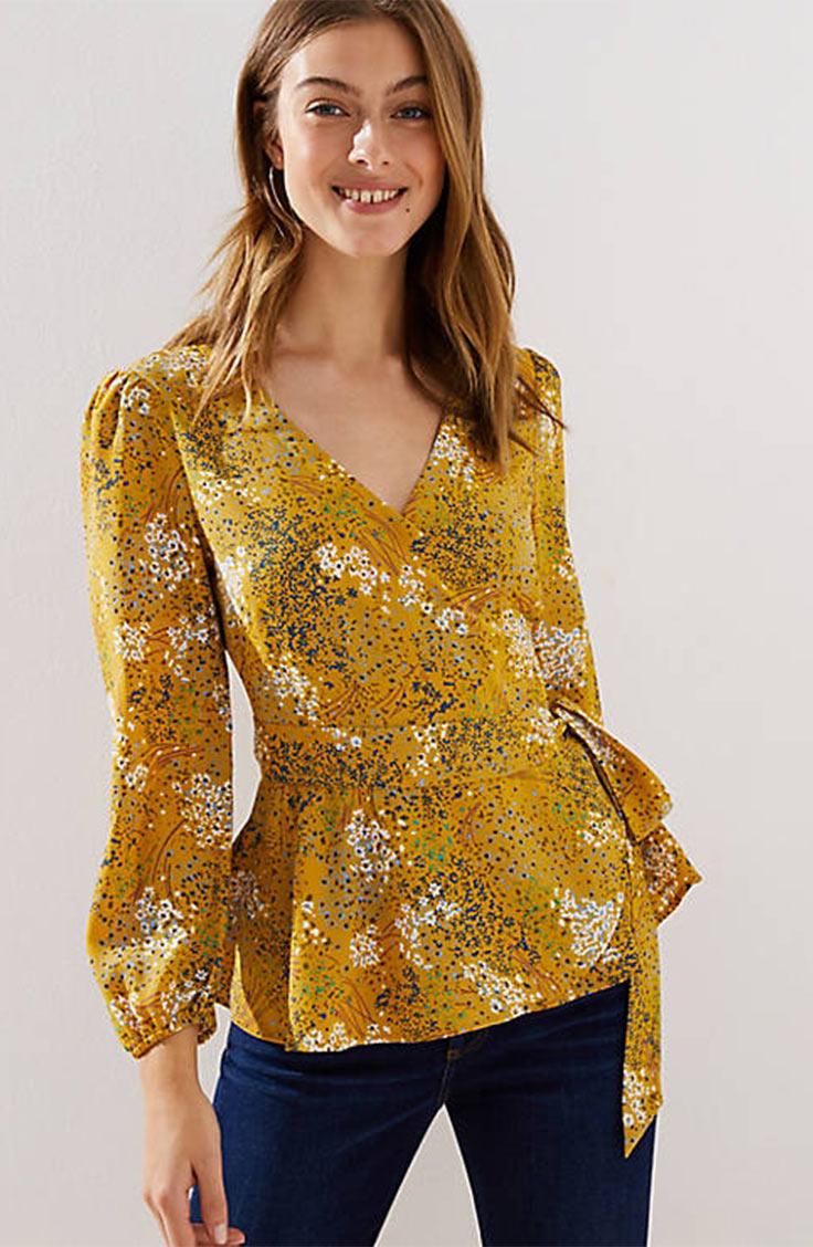 Yellow floral wrap blouse