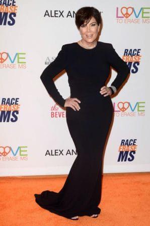 Kris Jenner wearing black mermaid style dress