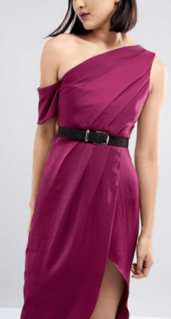 Narrow black belt paired with dark pink dress