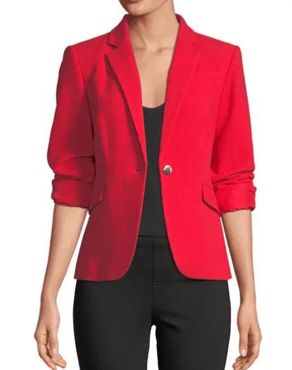 Red one button blazer jacket