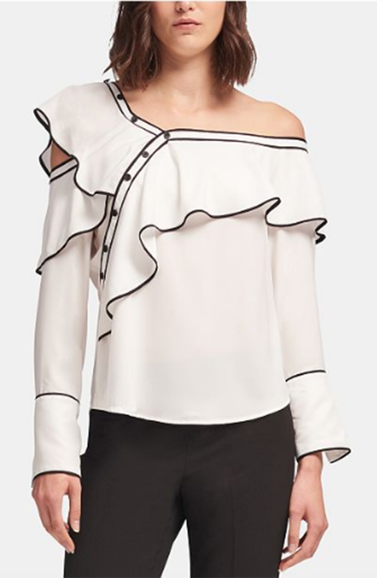 White ruffle blouse with black trim