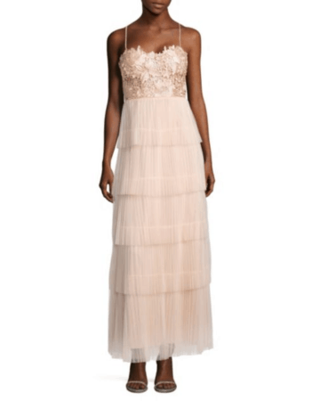 Soft pink spaghetti strap dress with pleats