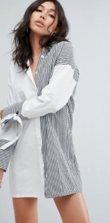 White and pin stripe shirt dress from ASOS