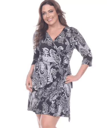 Black and white paisley print wrap dress