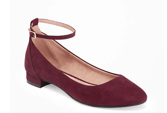 Rust suede ankle strap spring flats