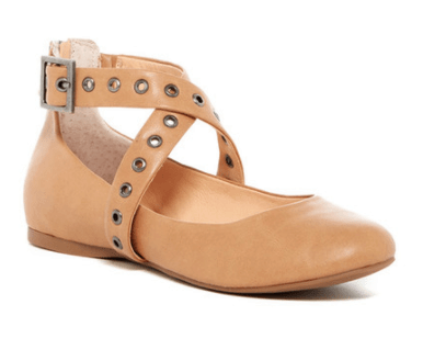 Beige flat with grometed ankle strap