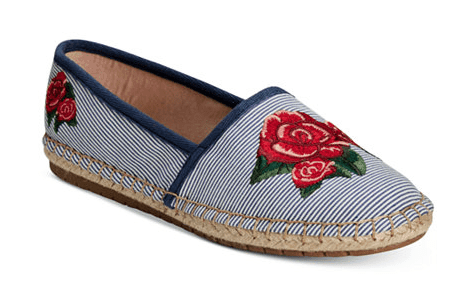 Striped blue espadrille style flats with red flower detail