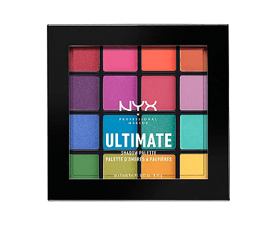 Square palette of very bright eyeshadow colors