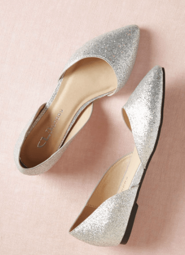 Silver flats with pointed toe