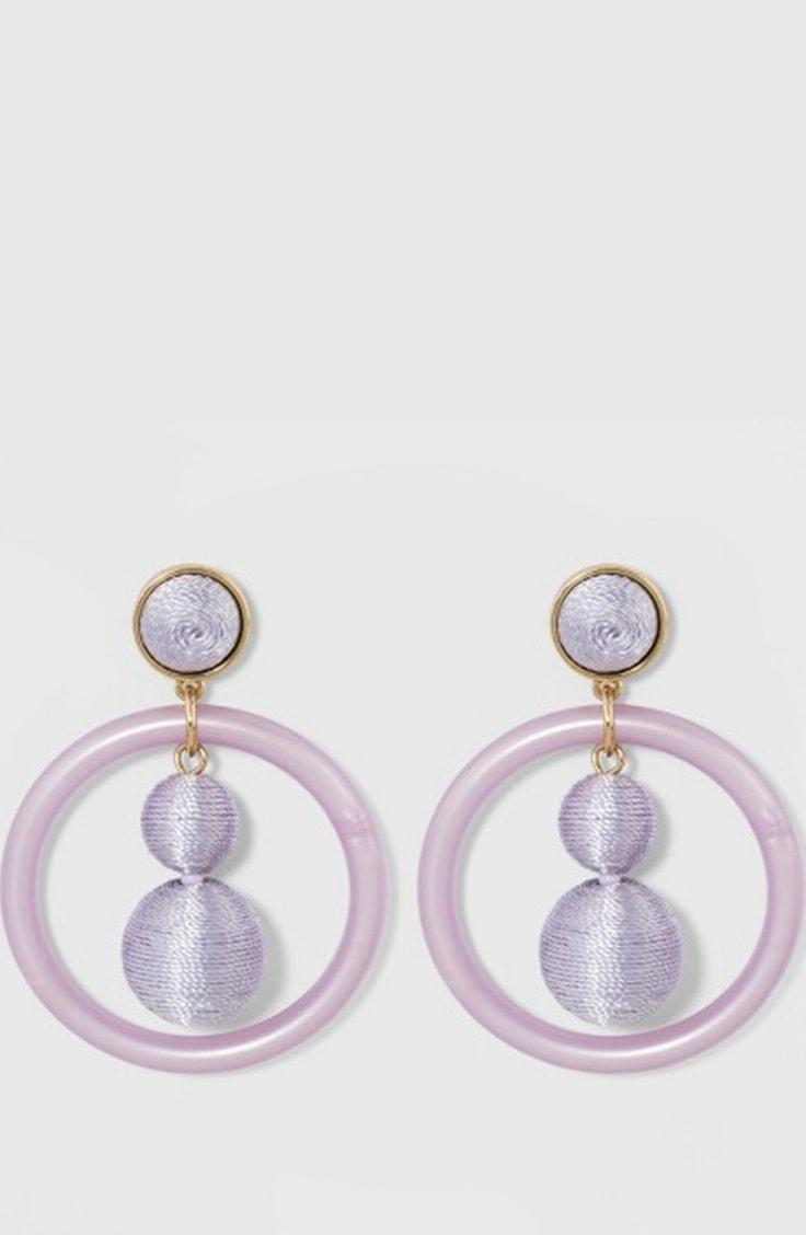 Lilac drop hoop earrings