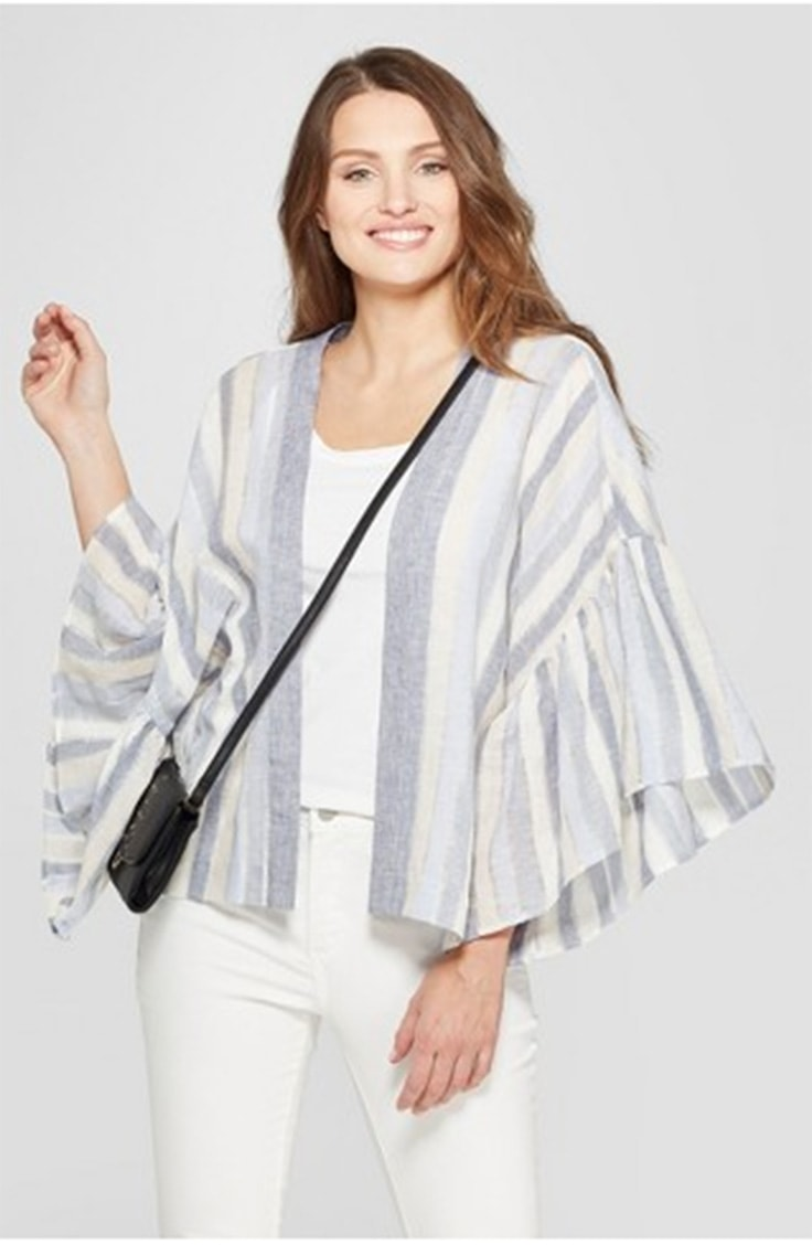 Woman wearing striped kimono from Target