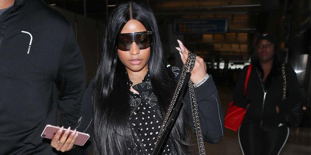 Nicki Minage wearing all black street-style