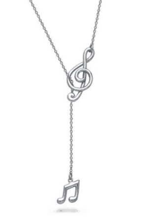 Silver necklace with treble clef