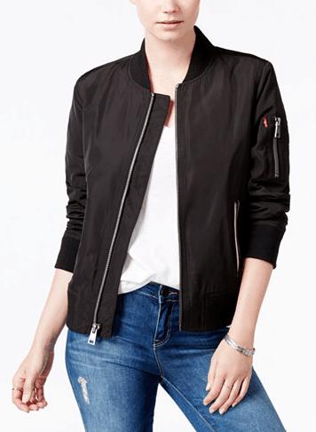 Black bomber jacket over white t shirt