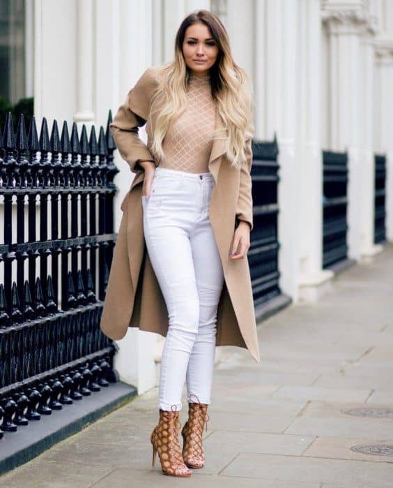 Body suit with white denim and long jacket