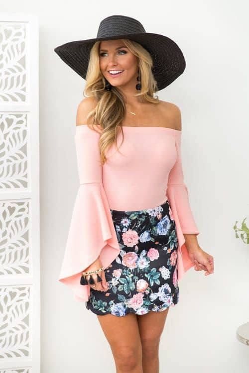 Bodysuit and floral skirt