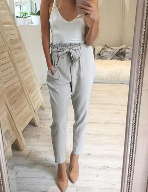 White bodysuit with gray harem pants