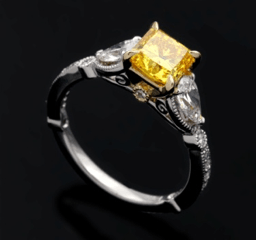 Wedding ring with yellow stone