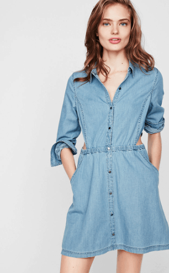 Denim shirt dress with side cut-outs