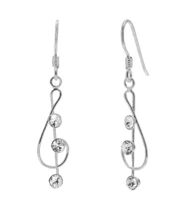 Treble clef drop earrings