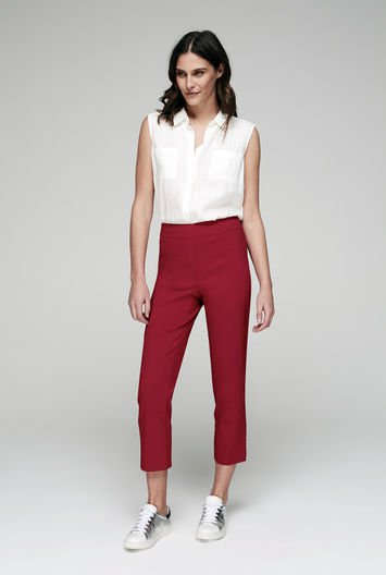 Outfit with white top and red capris