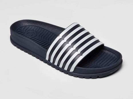 Navy and white striped slides from Hunter