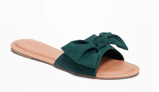 Teal slides with bow