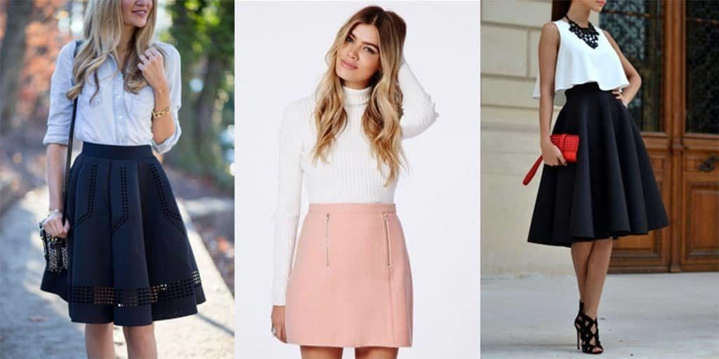 Collage of three outfits featuring A-line skirts.